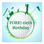 "Men's Golfing 40th Birthday Invitation 5.25"" Square Invitation Card"