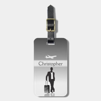 Mens Gray Personalized Silhouette Luggage Tag