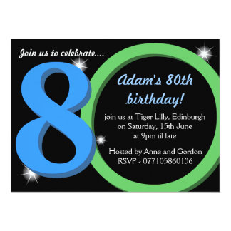 Mens Green / Blue Eightieth 80th Birthday Party Card