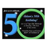 Mens Green / Blue fiftieth 50th Birthday Party 14 Cm X 19 Cm Invitation Card