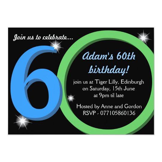Mens Green Blue Sixtieth 60th Birthday Party Invitation