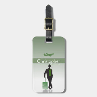 Mens Green Personalized Silhouette Luggage Tag