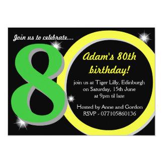 Mens Green / Yellow Eightieth 80th Birthday Party Card