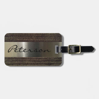 Men's Grey Corduroy And Steel Image Tag For Luggage