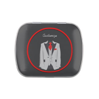 Men's Grey Suit and Red Tie Jelly Belly Tin Favor