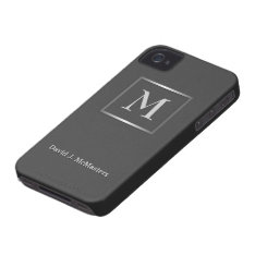 Mens Gunmetal Gray Monogram Blackberry Case at Zazzle