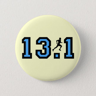 Mens half marathon pinback button