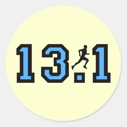 Mens half marathon round sticker