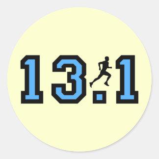 Mens half marathon classic round sticker