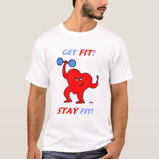 Mens Heart Fitness Exercise T-Shirt
