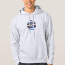 Men's hooded sweatshirt with blue mosaic