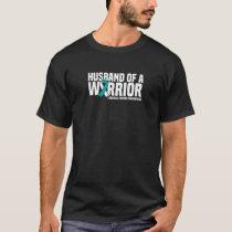 Mens Husband Of A Warrior Cervical Cancer Awarenes T-Shirt