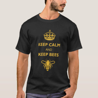 Men's Keep Calm & Keep Bees Shirt  (Gold Print)