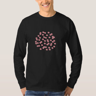 Men's long sleeve T-shirt with red polka dots