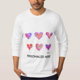 Men's Long Sleeve Tees - Pop Art Crazy Hearts 2
