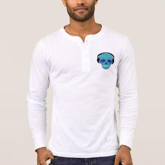 Mens Long Sleeve V-Neck w/ Sugar Skull Design Tee Shirt