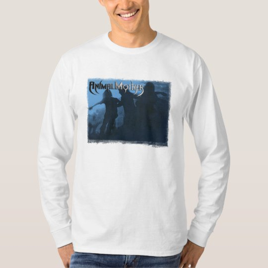 "Mens Long Sleeve White T ""Moshing Blue"" front T-Shirt"