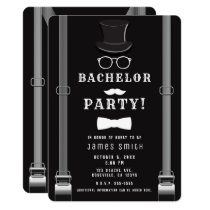 Men's Man's Bachelor Party Hipster Suspenders Invitation