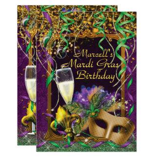 Mens Mardi Gras Birthday Party Invite