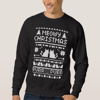 Men's Meowy Christmas Holiday Ugly Cat Sweater