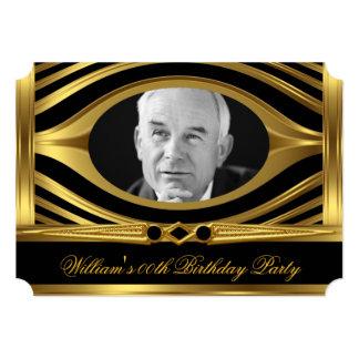 Men's Metal Gold Look Black Birthday Photo Jewel 2 Card