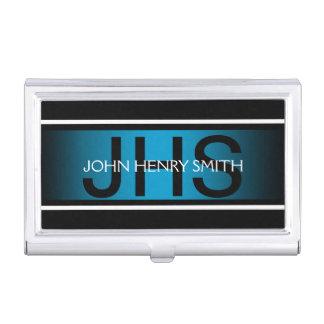 Men's monogram black white blue business card case