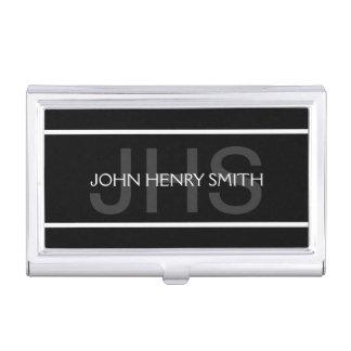 Men's monogram black white gray business card holder