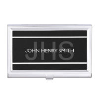 Men's monogram black white gray case for business cards