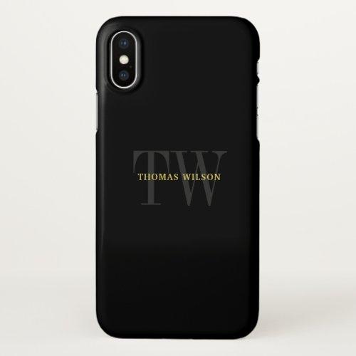 Men's Monogram Modern Minimalist Black & Gray Phone Case