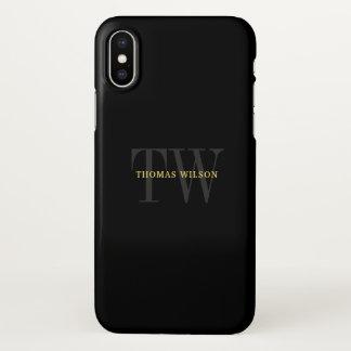 Men's Monogram Modern Minimalist Black & Gray iPhone X Case