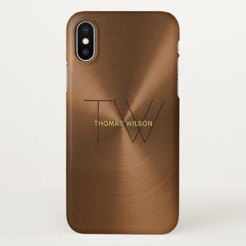 Men's Monogram Modern Minimalist Bronze & Gold Phone Case