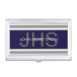Men's monogram navy blue gray case for business cards