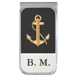 Men's Nautical Monogram Silver Finish Money Clip