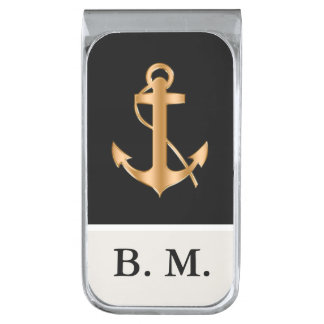 Men's Nautical Monogram Silver Finish Money Clip