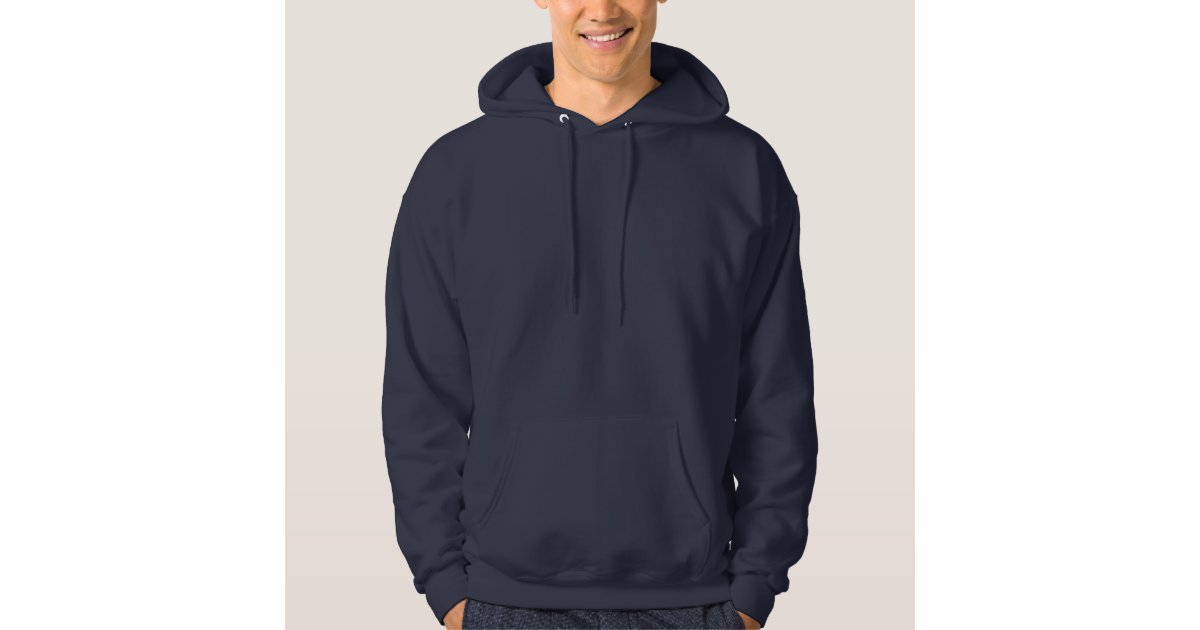 Men's Navy Blue Customizable Plain Blank Hoodie | Zazzle