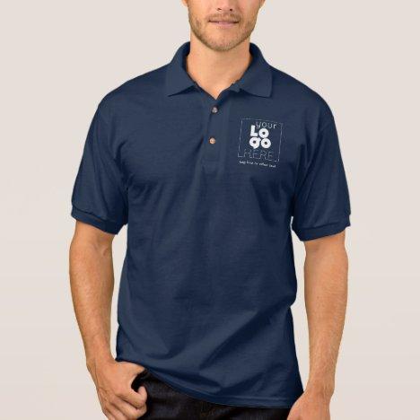 Mens Navy Business Polo Shirt + Custom White Logo