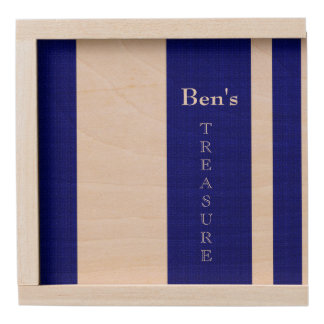 Men's-Navy_Treasure_Box_Stripes_Name_Template Wooden Keepsake Box