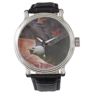 Men's Patriotic Watch with Bald Eagle Illustration