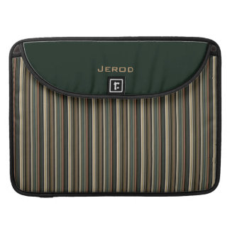 Men's Personalized Green and Brown Striped MacBook Pro Sleeve