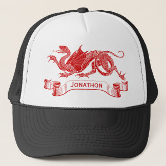 Men's Personalized Red Dragon Trucker Cap