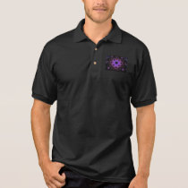 Men's Polo Shirt with Geometric Purple Pattern