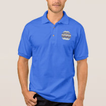Men's polo T-shirt with blue mosaic