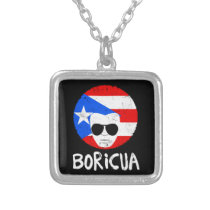 Mens Puerto Rico Boricua Latino Papa Fathers Day Silver Plated Necklace