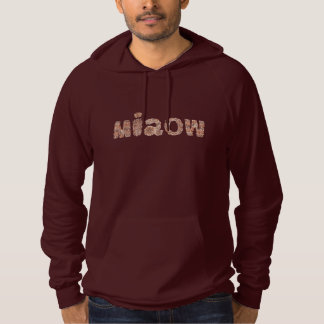 Men's pullover hoodie with 'miaow'