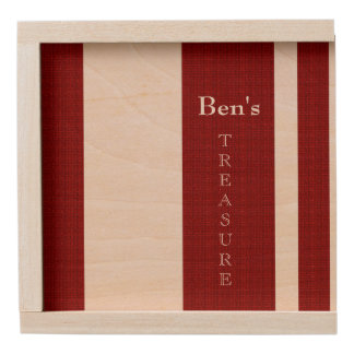 Men's-Red_Treasure_Box_Stripes_Name_Template Wooden Keepsake Box
