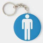 Men's Restroom Highway Sign Basic Round Button Keychain