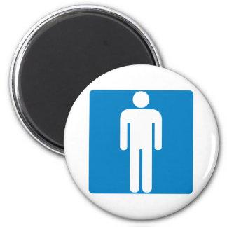 Men's Restroom Highway Sign 2 Inch Round Magnet