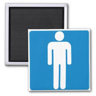 Men's Restroom Highway Sign 2 Inch Square Magnet