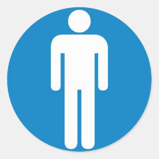 Men's Restroom Highway Sign Round Sticker