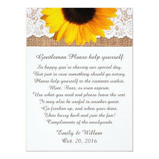 Mens Restroom Wedding Basket Sign Card